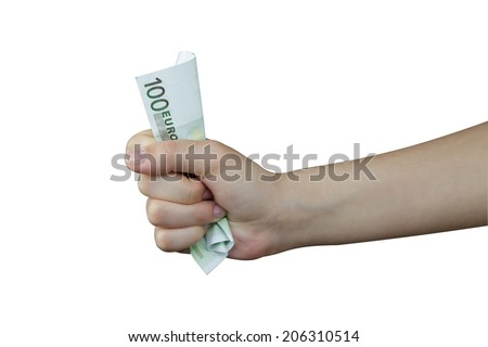 Hand squeezing a banknote of 100 euro - stock photo