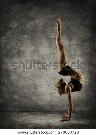 Hand Stand, Woman Handstand, Girl Acrobat Performer doing Hands Standing Upside Down - stock photo