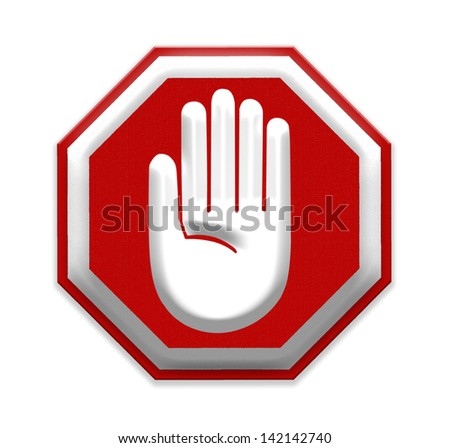 Hand Stop Sign, mesh isolate on white background, Part of a series. - stock photo