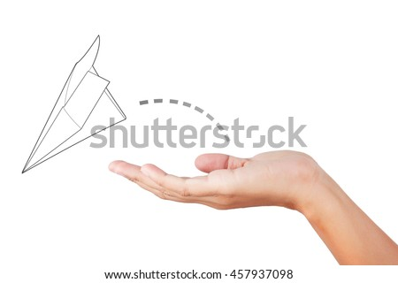 Hand support paper airplane. - stock photo