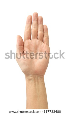 Hand symbol isolated on white background - stock photo