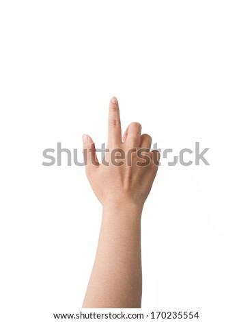 Hand symbol isolated on white background.