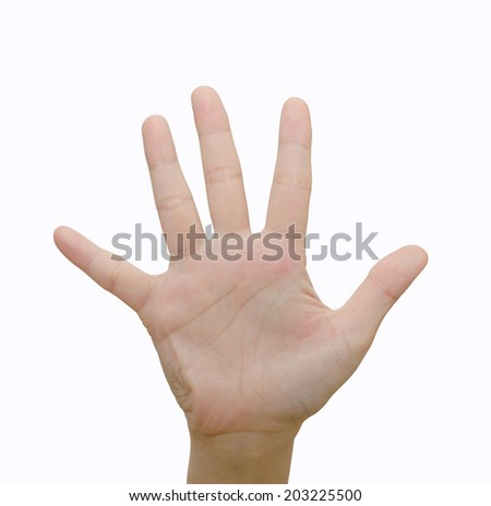 Hand symbol means five on white background  - stock photo