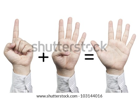 Hand symbol number 1+4=5, isolated on white background
