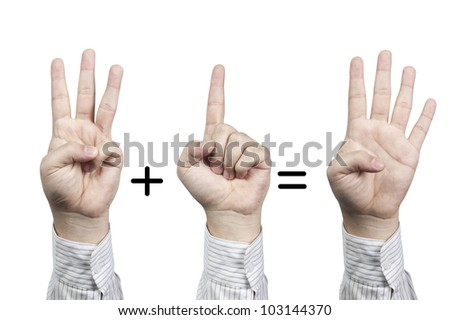 Hand symbol number 3+1=4, isolated on white background - stock photo