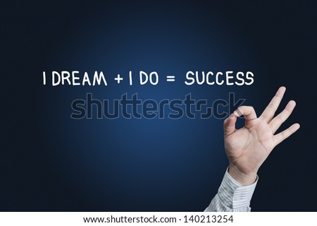 Hand symbol OK and word success - stock photo