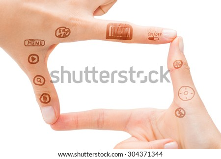 Hand symbol that means digital camera on white background. - stock photo