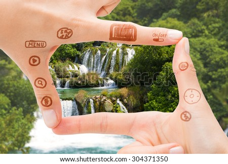 Hand symbol that means digital camera. Photography concepts. - stock photo