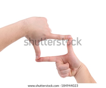 Hand symbol that means frame. Isolated on a white background.