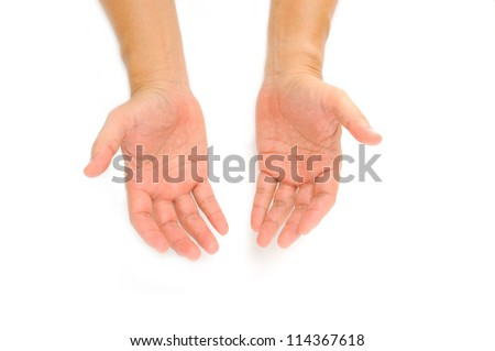 Hand Symbol with isolated white background - stock photo