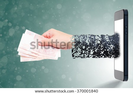 hand take a money online - stock photo