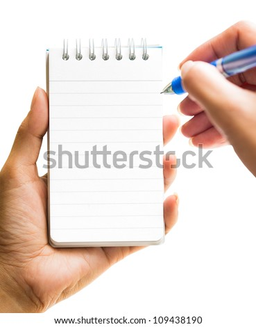Hand take a note on blank notepad, Isolated on white with clipping path - stock photo