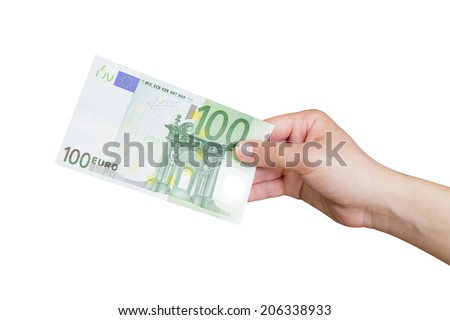 Hand taking a banknote of 100 euro