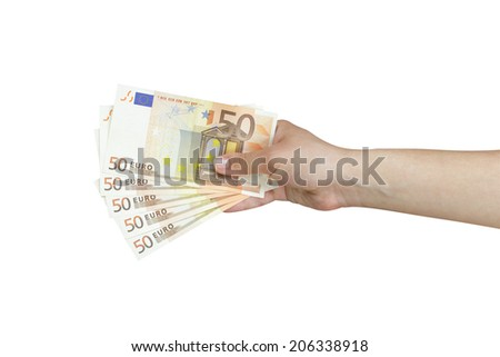 Hand taking a stack of euro banknotes