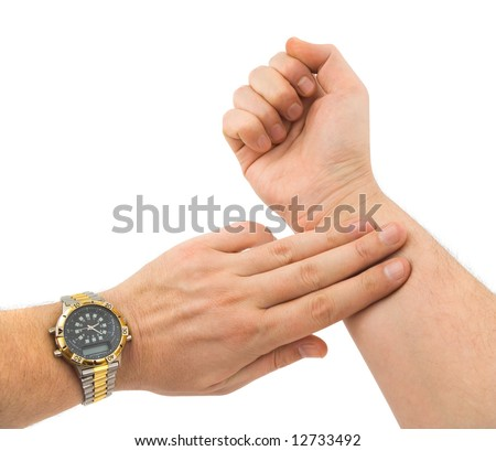 Hand taking pulse isolated on white background;
