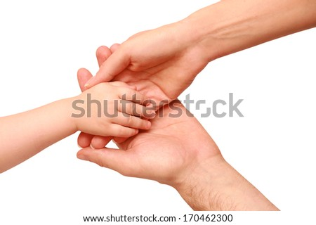 hand the child in the parents' hands on a white background - stock photo