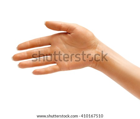 Hand the outstretched in greeting isolated on white background. High resolution product. Close up - stock photo