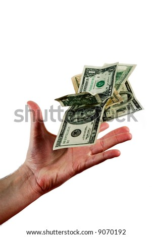 Hand throwing dollar bills isolated on white background