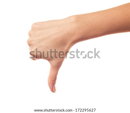 Hand thumb down isolated on white background