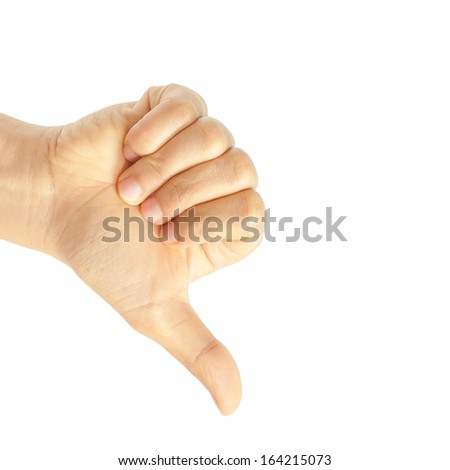 Hand thumb down isolated on white background. No sign by woman. Rejection symbol