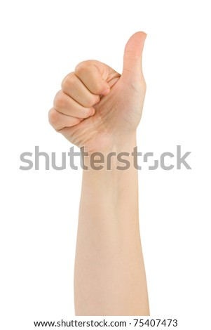 Hand thumb isolated on white background