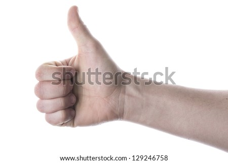 Hand thumb raised to the top isolated on the white background