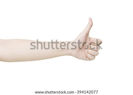 hand thumb up. isolated on white background with clipping path