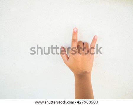 hand, thumbs up ,Woman beautiful hand hold, woman hand on white background - stock photo