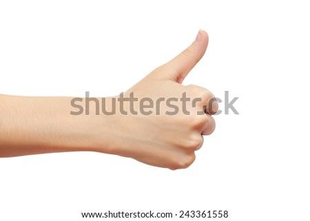hand thump up sign isolated on white background. studio photoshoot - stock photo