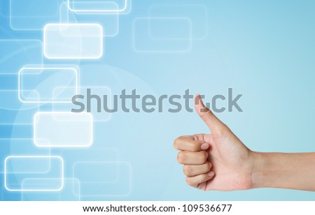 hand thunb up-like icon on modern abstract background.