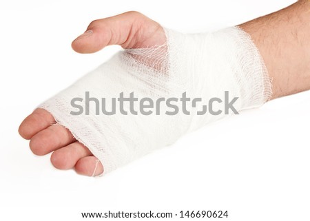 Hand tied bandage on a white background