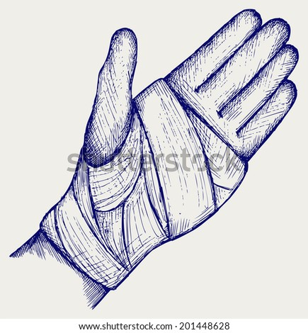 Hand tied elastic bandage. Doodle style. Raster version - stock photo