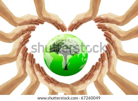 hand to protect the world - stock photo