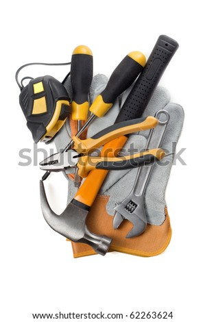 Hand tools isolated on a white - stock photo