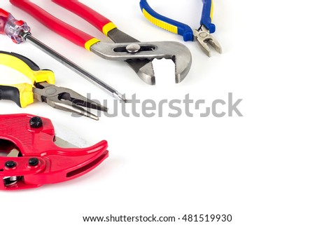 Hand tools set, screwdriver, clippers, Pipe wrench, pliers.