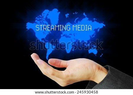 Hand touch digital streaming media technology background - stock photo