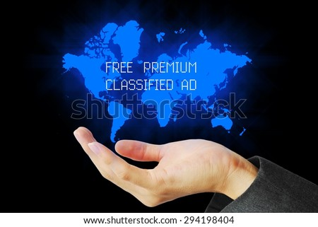 hand touch free premium classified ad technology background  - stock photo
