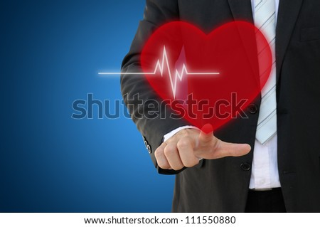Hand touch heart beat icon - stock photo