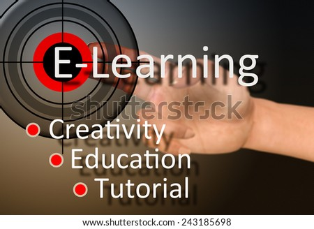 Hand touch on e-learning concept