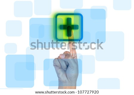 hand touch on First Aid sign