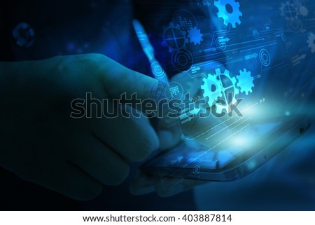 Hand touch screen smart phone.Digital technology concept,Social media - stock photo