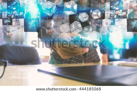 Hand touch screen smart phone. Social media concept. - stock photo