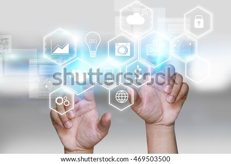 Hand touch screen Social media icons.Digital technology concept,Social media,social network