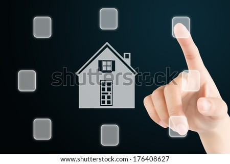 hand touch the button around the home sign