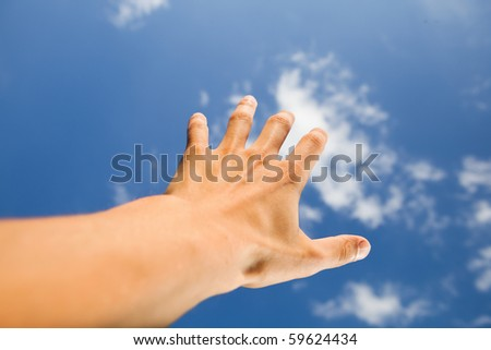 hand touch the sky - stock photo