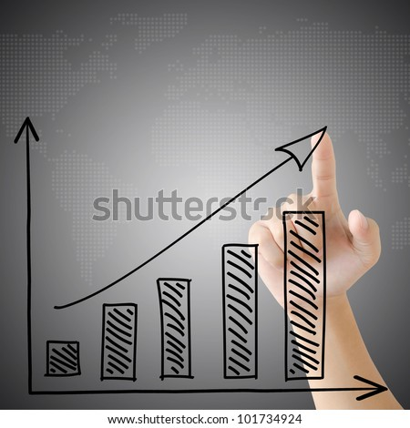 hand touch virtual graph on the screen. - stock photo