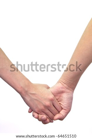 Hand touches hand isolated on white background. - stock photo
