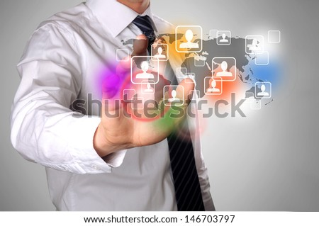 hand touching a contact of his social network