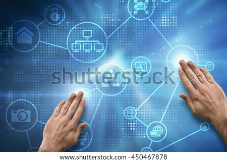 Hand touching against abstract background