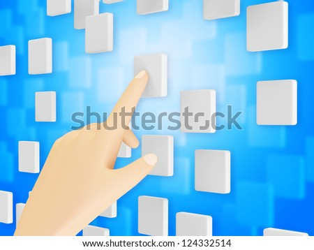 Hand Touching Blank Screen Interface on blue background - stock photo